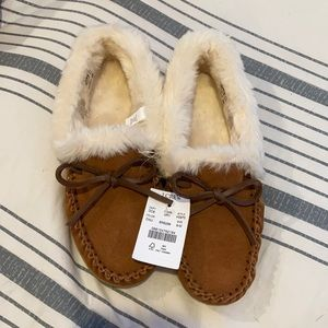 J.Crew-Suede faux-shearling moccasin slippers